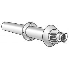 Terminal horizontal condensation 60 100 gaz et fioul ventouse pptl pvc lg 80cm REF 229100 UBBINK