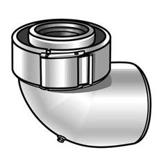 Coude 90 degre condensation 80 125 gaz et fioul pptl pvc blanc REF 228520 UBBINK