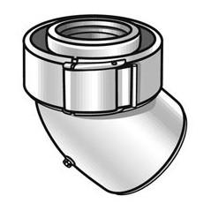 Coude 45 degre condensation 80 125 gaz et fioul pptl pvc blanc REF 228500 UBBINK