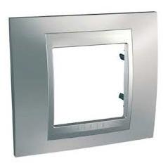 Plaque de finition chrome satine alu REF MGU66.002.038 UNICA TOP ALU SCHNEIDER