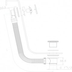 VIDAGE DE BAIN TYPE CLIC-CLAC LG 81A 125CM Chrome Réf 700PA PAINI
