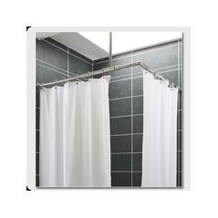 Rideau de Douche avec ourlet lesté 6 anneaux Polyester Blanc 1.80x90cm REF 60585 PRESTO