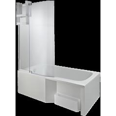 PARE BAIN pour Baignoire bain douche MALICE 2 volets largeur 96cm verre 6mm REF CE6D069-00 JACOB DELAFON