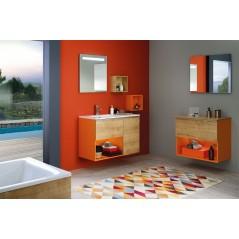 Ensemble meuble LIBERTY 60cm laqué orange et chene arlington avec vasque synthese REF 755000 SANIJURA