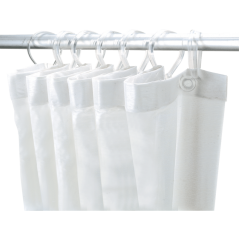Rideau de Douche Angle Polyester Blanc 1.80x1.80ml REF 387 DELABIE
