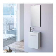 Meuble MICRO 400 avec vasque synthèse, miroir et applique LED couleur Blanc réf 25352 SALGAR