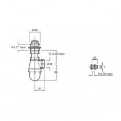 Equipement pour Urinoir COQUILLE 2 Siphon+Effet d'eau+bonde chrome REF E74560-CP JACOB DELAFON