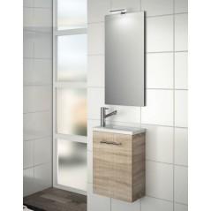 Meuble MICRO 400 avec vasque synthèse et miroir couleur Chêne Calédonie réf 22898 SALGAR