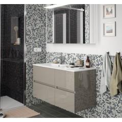 Meuble suspendu FUSSION LINE de 60 cm, 2 tiroirs, sans plan vasque, couleur Blanc brillant réf 23311 SALGAR