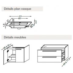 Meuble PRIMARO 60cm 2 tiroirs + vasque + miroir + spot couleur chêne quebec réf 737026 SANIJURA